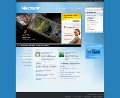 Novo site da Microsoft