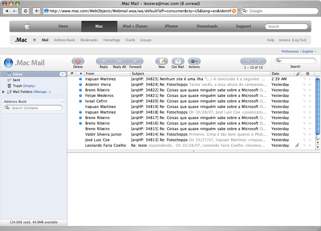 screenshot do .Mac