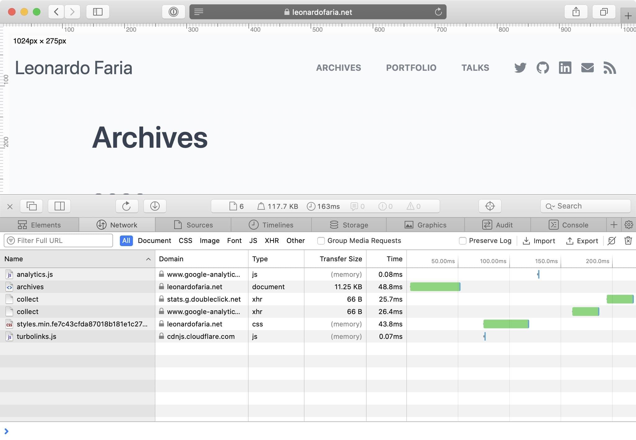 Safari Network tab